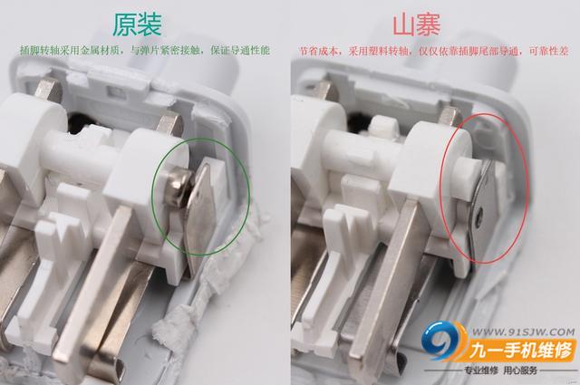 插脚的转轴部分,苹果原装转轴采用金属材质,与弹片紧密接触,保证收放的顺滑,无阻尼感。而次品则采用塑料转轴,收放手感差。 充电头网拆解总结 通过充电头网的拆解对比,发现山寨的苹果转换头主要存在充电器配合时公差大,配合精度低、转换头容易发黄,非常影响观感、插头插拔时容易打火、插头收纳时不顺畅,有较大阻尼或顿挫等多种问题,其用料与苹果原装产品相去甚远。 如今的配件市场鱼龙混杂,所以大家在选购这种插脚配件的时要多见留意。